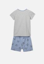Cotton On - Hudson short sleeve pj set - grey & blue