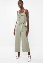 Superbalist - Button thru safari style jumpsuit - khaki