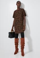 Superbalist - Frill sleeve tunic - brown & black