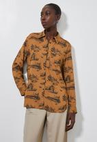 Superbalist - Split hem utility pocket shirt - brown & black