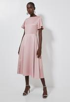 Superbalist - High neck fit & flare dress - pink