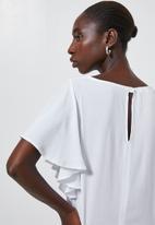 Superbalist - Flutter sleeve shell - white