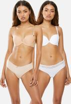 Wonderbra - 2 pack smooth bra - white & beige