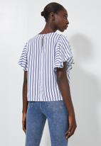 Superbalist - Flutter sleeve shell shirt - blue & white