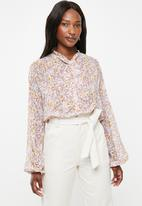 edit - Peasant blouse with neck tie - multi