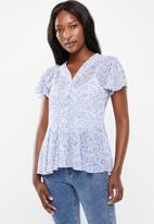 edit - Flutter sleeve button down blouse - multi