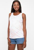 Cotton On - Maternity everyday gathered side tank top - white & pink