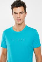 GUESS - Pima embroidered logo crew neck tee - blue
