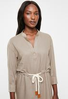 edit - Linen rope front dress - taupe