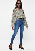 edit - Peasant blouse with neck tie -  green