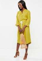 edit - Linen rope front dress - chartreuse