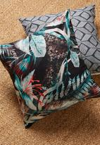 Grey Gardens - Hibiscus cushion cover - turquoise