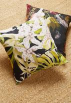 Grey Gardens - Black orchid cushion cover - green