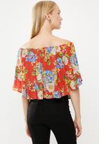 STYLE REPUBLIC - Satin bardot blouse - red