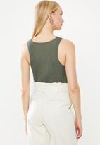STYLE REPUBLIC - Sleeveless rib vest - khaki