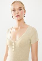 STYLE REPUBLIC - Cap sleeve rib pull over - beige
