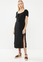 Cotton On - Woven faye split midi dress - black