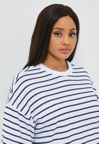 Superbalist - T-shirt dress (plus) - blue & white stripe