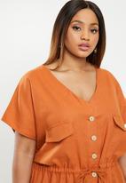 edit Plus - Linen sack dress - rust