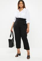 edit Plus - Belted paperbag pant - black1