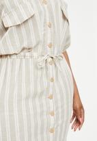 edit Plus - Linen sack dress - beige & cream