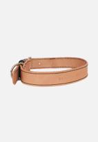 Benji & Moon - Leather dog collar - natural/black
