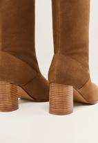 MANGO - Campo leather knee length boot - brown