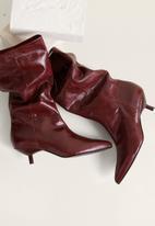 MANGO - Sweet leather boot - burgundy