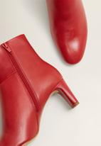 MANGO - Isabel leather ankle boot - red
