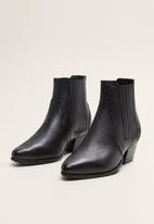 MANGO - Hannover leather ankle boot - black