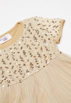 POP CANDY - Embroidered sequin combo dress - gold