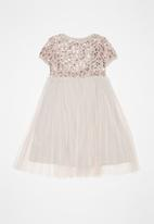 POP CANDY - Embroidered sequin combo dress - dusty pink