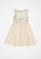 POP CANDY - Sequin combo party dress - champagne