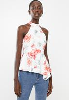 New Look - Agnes peplum top - white & coral