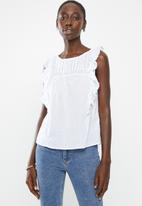 New Look - Cherry lace top - white