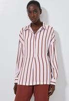 Superbalist - Longline shirt - rust & white