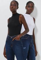 Superbalist - 2 Pack sleeveless high neck bodysuit - white & black