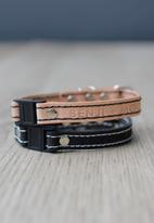 Benji & Moon - Leather cat collar - natural/black