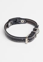 Benji & Moon - Leather cat collar - black/natural