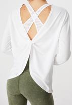 Cotton On - Back twist long sleeve top - white