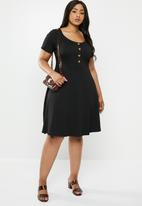 New Look - Curves button through dress - black