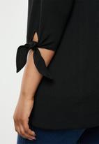 New Look - Curves tie sleeve riverpool blazer - black