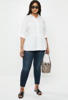 New Look - Curves peplum hem poplin shirt - white