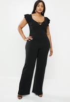 Missguided - Curve cross front frill jumpsuit - black