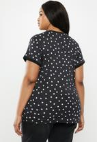 New Look - Curves sharon spot ringer tee - black & white