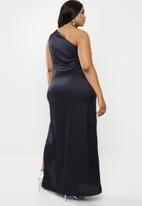 Missguided - Curve one shoulder satin maxi dress - dark midnight navy