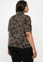New Look - Curves ditsy pie crust chiff shirt - black