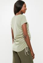 Cotton On - Maternity side tie short sleeve top - green