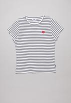 Free by Cotton On - Jayde ribbed short sleeve top -  white & navy