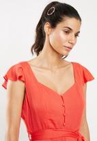 Glamorous - Frill sleeve dress - coral